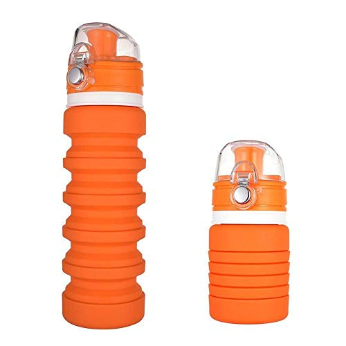 Maltsky Botella Plegable,Botella de Silicona Plegable Botella de Agua Deportiva Portátil 350~500ml Botella de Viaje Flexible Reutilizable,Botella Sin BPA para Deportes Viajes Camping (Naranja)