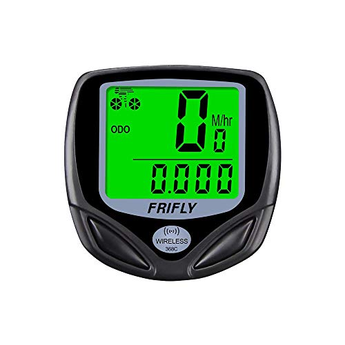 FRIFLY Bike Computer Wireless Cost-Effective Bicycle Speedometer Bike Odometer Waterproof 1.4 inch LCD Backlight Display mph/kmph Settable.
