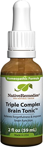 Native Remedies Triple Complex Brain Tonic - Natural Homeopathic Formula Relieves Forgetfulness, Mental Fatigue and Problems Concentrating - Supports Brain Function, Memory and Alertness - 59 mL
