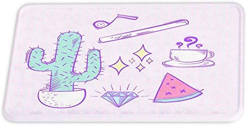 downthrow Kaktus Korallen Samt Bad Teppiche Cartoon Kaffeetasse Skizze Kunst rutschfeste Duschmatte für Badezimmer Dekor Tür Teppich Bodenmatte