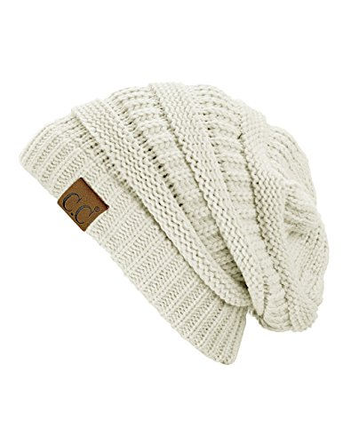 Trendy Warm Chunky Soft Stretch Cable Knit Beanie Skully, Ivory