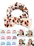 Junglegym Spa Headbands for Women ,Bow hair band Soft Coral Fleece Facial Makeup Head Band for Women Girls Shower Face Mask Spa Headwraps with Animals Ears (Leopard)
