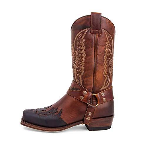LIfav Botas cálidas de invierno, botas de mujer con puntera cuadrada, botas de cuero cálidas de tacón bajo botas de vaquero bordadas de impresión de mujer impermeables para mujer, marrón, 38