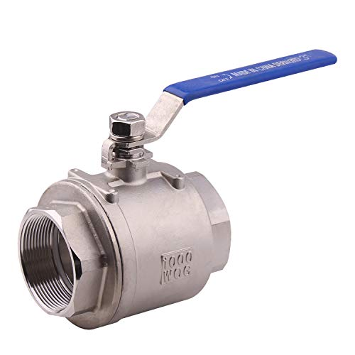 "DERNORD Full Port Ball Valve Stainless Steel 304 Heavy Duty for Water, Oil, and Gas with Blue Locking Handles (3"" NPT)"
