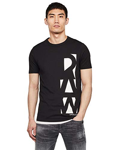 G-STAR RAW Men's Vertical Raw GR Slim T-Shirt - Black - M
