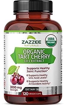 Zazzee USDA Organic Tart Cherry Extract 120 Vegan Capsules 3000 mg Strength Potent 10 1 Extract USDA Certified Organic Non-GMO and All-Natural