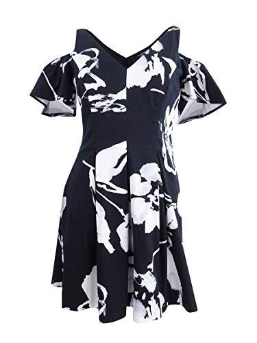 Lauren Ralph Lauren Damen-Minikleid mit Blumendruck, kalte Schulter, Plissee - Schwarz - 44