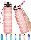 Elvira 32oz Motivational Fitness Sports Water Bottle with Time Marker & Removable Strainer,Fast Flow,Flip Top Leakproof Durable BPA Free Non-Toxic-Light Pink