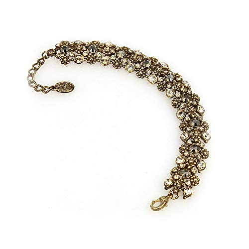Women Mia Bracelet Encrusted in Swarovski Crystals Perfect Gift For Any Occasion.Available in Metallic Light Gold Antique Gold for Wedding Formal Occasions Birthday Anniversary Valentine's Day