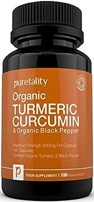 Organic Turmeric Curcumin Capsules 600mg with Organic Black Pepper | 100% MONEY BACK GUARANTEE | High Strength | Vegetarian & Vegan | 180 Capsules, 6 Months Supply | Made in the UK