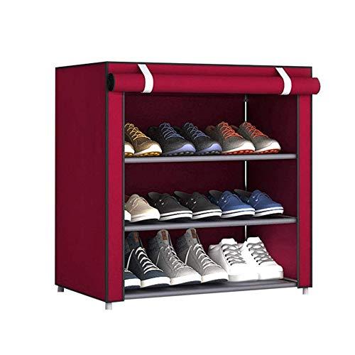 JIADUOBAO Bolsa de almacenamiento de zapatos de 3 capas Organizador de zapatos de tela a prueba de polvo grande zapatero hogar dormitorio zapatero polvo tela no tejida