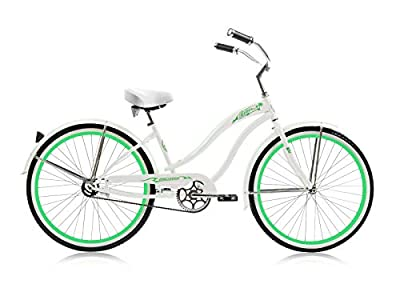 "Micargi 26"" Retro Beach Cruiser Bike Coaster Brakes for Female (White)"