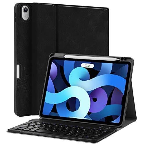 JUQITECH Funda para iPad Air 4 10.9 teclado 2020 - Funda inteligente con teclado inalámbrico Bluetooth para tablet desmontable -...
