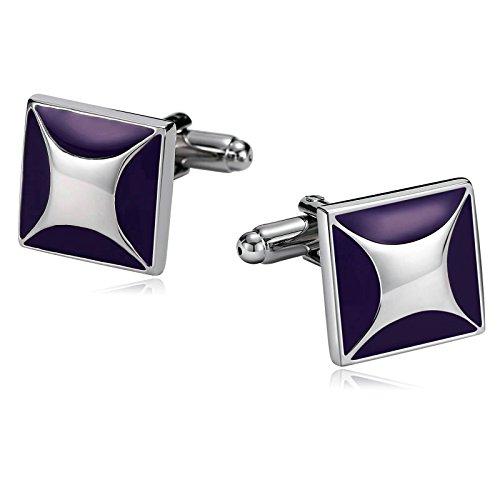 AmDxD Manschettenknöpfe für Herren, Gothic-Stil, Silber, Violett, Emaille, quadratisch, 1,6 x 1,6 cm