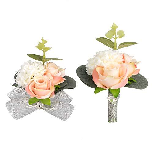 Peng Haiyunfei Bridesmaid Wedding Polso Fiore Corpetto Elastico Sposa Braccialetto Corpetto Matrimonio Pallamano Festa Ritorno a scuola Decorazione floreale fatta a mano (2 rosa)