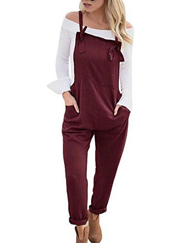 Donna Casual Elegante Salopette Lunga Moda Tasche Ufficio Ragazza Overall Baggy Jumpsuit Monopezzi Partito Playsuit Vino Rosso IT 44