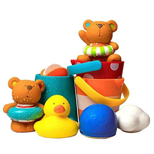 MENGYUAN Juego de 3 piezas de juguetes de baño de dibujos animados animales