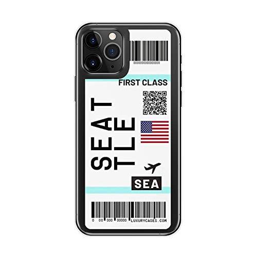 Air Ticket USA City London Paris Tokyo Label World - Custodia trasparente per iPhone 11 Pro XR XS Max 7 8 6 6S Plus Chicago QR Code Cover-T6 per iPhone 11