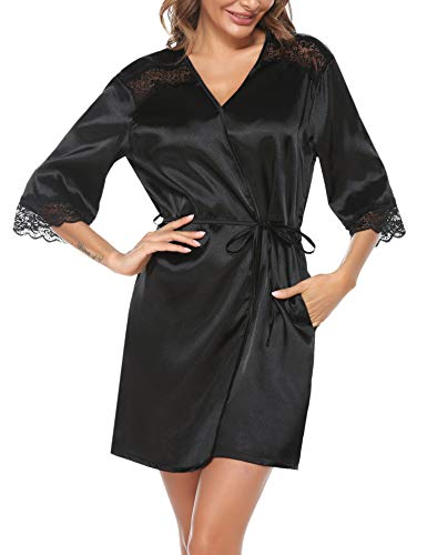 Hawiton Albornoz Mujer Verano Pijama Sexy Mujer Albornoz Kimono Bata de Satén Corto con Cinturon y Bolsillas, Negro, L