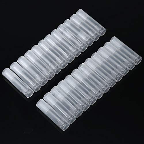 Leere Lippenstift Tubes,24PCS Klare Lippenpasten Tube Kunststoff Lippenbalsam-Behälter mit Kappe Wiederverwendbare 5G Lippenpflegestift Behälter für Herstellung von Lippenbalsam