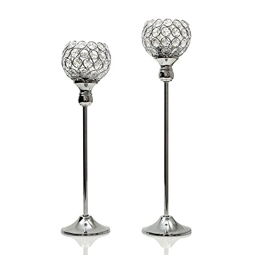 VINCIGANT Silver Crystal Pillars Modern Candlesticks for Wedding Party Anniversary Celebration Coffee Table Decorative Centerpiece Set of 2