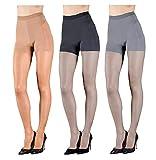 Studio Badgley Mischka Essential Sheer Pantyhose with Run Resist Technology, 3 Pair Pack, Black/Nude/Grey, Medium