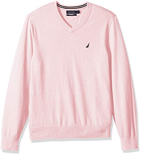 Nautica Men's Long Sleeve Solid Classic V-Neck Sweater, Cradlepink, Medium