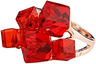 Rings 3 PCS Women Fashion Magic Cubes Crystal Inlay Ring, Ring Size:5(Blue) Rings (Color : Red)