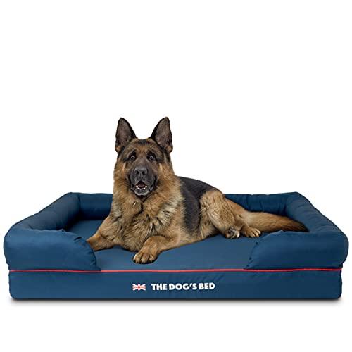 The Dog's Bed Panier orthopédique pour chien en mousse à mémoire de forme S-XXL, imperméable à l'eau, soulagement de la douleur pour l'arthrite, la dysplasie des hanches et du coude, la post-chirurgie, boiterie, soutien pour animaux âgés, panier de repos lavable