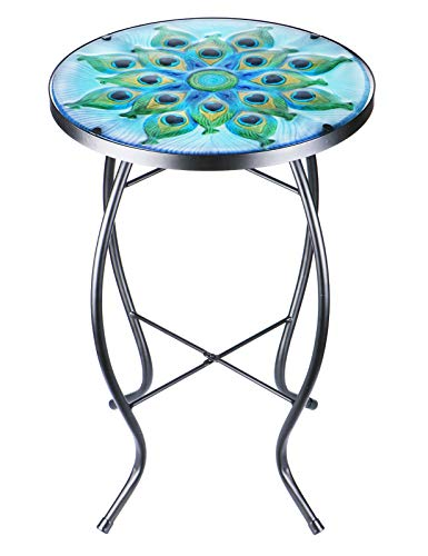 Patio Side Table Outdoor Coffee Table Mosaic Accent Table Round Small End Table