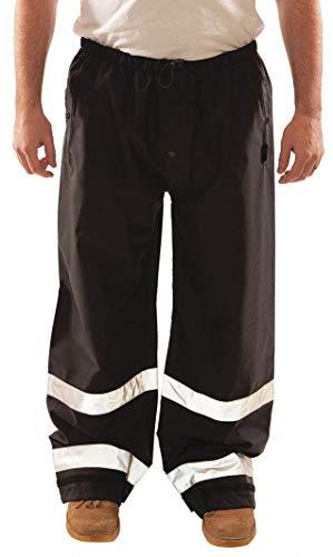 Icon P24123.4X - Pantalones Gruesos de 12 mm de Poliuretano/poliéster con Cinta Reflectante Plateada de 5 cm, Correas de sujeción con Gancho y Bucle, tamaño 4X, Color Negro