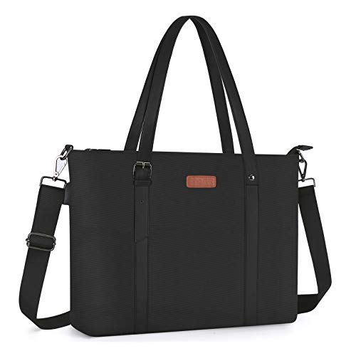 MOSISO USB Port Laptop Tote Bag (Up to 17.3 inch), Large Woman Organizer Work Business Office Travel Shopping Teacher Shoulder Bag Portable Carrying Handbag Compatible with MacBook & Notebook, Black