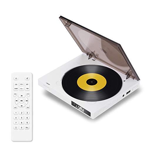 BACKTURE Lettore CD Portatile con Telecomando, Bluetooth 5.0//HiFi Altoparlanti/Radio FM/3.5mm Jack AUX/porta USB, Lettore Musicale CD Supporto per MP3/CD/CD-R/CD-RW/WMA