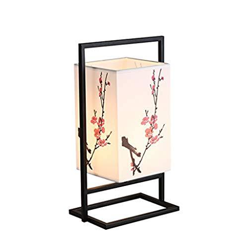Chang JiAer - Lámpara de noche de color ciruela moderna, asiática y flor, lámpara de mesa japonesa W/chasis de metal negro material cuboid Schatte Soft Light perfecta para la noche
