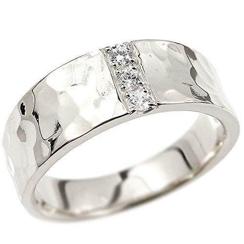[アトラス]Atrus リング メンズ 18金 ホワイトゴールドk18 ダイヤモンド 幅広 槌目 槌打ち ロック仕上げ 平角 指輪 19号