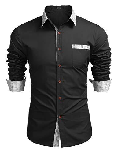 COOFANDY Hemd Herren Langarm Regular fit bügelleicht für Anzug Business Freizeit Hemden männer