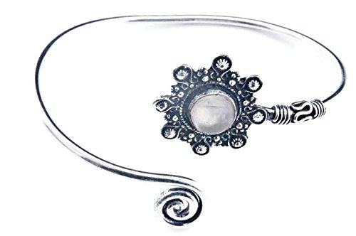 mantraroma Armreif Armband versilbert silbern Rosenquarz rosa (922-05-023-07)