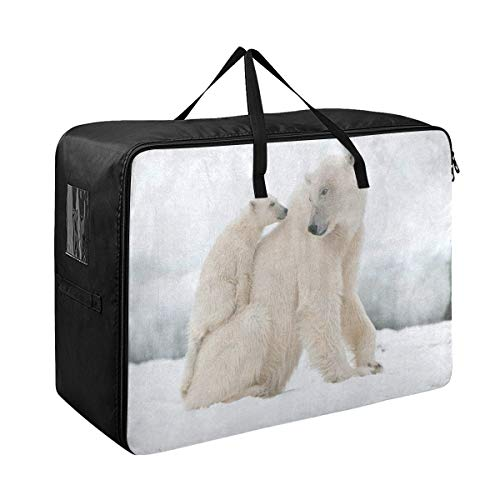 SLHFPX Comforter Storage Bags Snow Snowflake Polar Bear Extra Large Blanket Clothes Storage and Organization Space Saver Bed Closet Lidded Storage Cubes Basket Containers for Bedding, Cargo