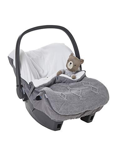 VERTBAUDET Strick-Fußsack für Babyschalen, Fleecefutter grau ONE SIZE