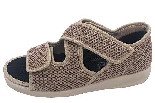 OrtoMed Klettschuhe Senioren Beige Sandale Hausschuh Schuhe, EU 38