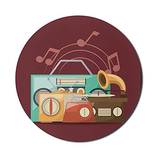 Retro Mauspad für Computer, alte Musikgeräte Radio Tape Deck Grammophon Notizen Dance Disco Vintage, rundes rutschfestes dickes Gummi Modern Gaming Mousepad, 8 \'rund, Burgund Multicolor