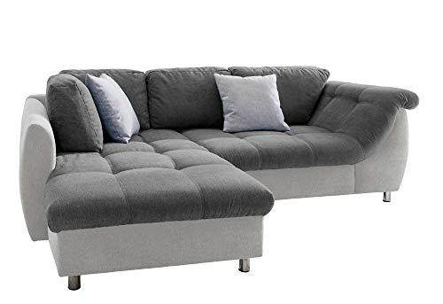 lifestyle4living Ecksofa mit Schlaffunktion in Anthrazit/Hell-Grau mit großen Rücken-Kissen, Microfaser-Stoff | Gemütliches L-Sofa mit Longchair im modernen Look
