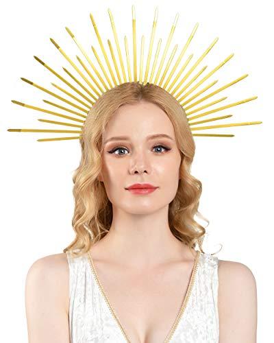 "Halo Crown Gold Spikes Sunburst Crown Halo Headpiece Mary Halo Headdress Women's Halloween Costume (2-Gold 5"" Height)"