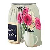 KOiomho Hombres Personalizado Trajes de Baño,Pizarra con la Frase Buenos días escrita Junto a Flores Frescas,Casual Ropa de Playa Pantalones Cortos
