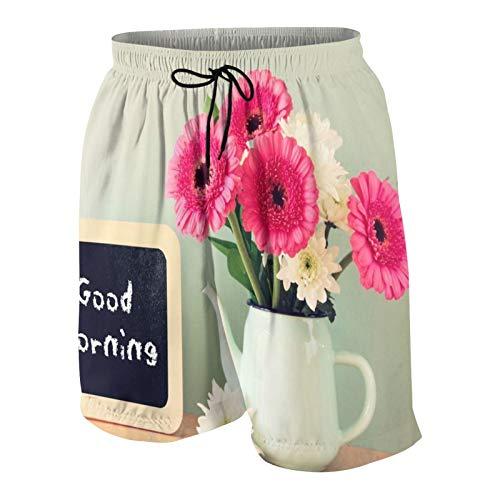 Alvaradod Traje de baño Personalizado para Hombre,Pizarra con la Frase Buenos días escrita Junto a Flores Frescas,Ropa de Playa Trajes de baño Shorts de baño Trajes de baño XXL