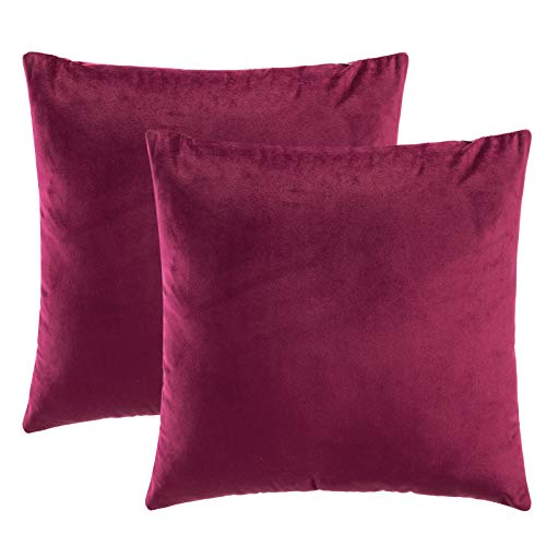 eletecpro Kissenbezug 40x40cm, 2er Set Samt Kissenhülle mit Verstecktem Reißverschluss, Rot Zierkissenbezüge für Sofa und Terrasse Büro in großer Farb- Größenauswahl