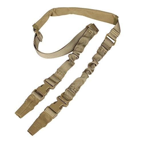 Fuwok DDC01 Taktischer Waffengurt für Airsoft-Gewehre, anpassbare Länge, Schlaufenform, mit 1 oder 2 Befestigungspunkten, Two Point Khaki