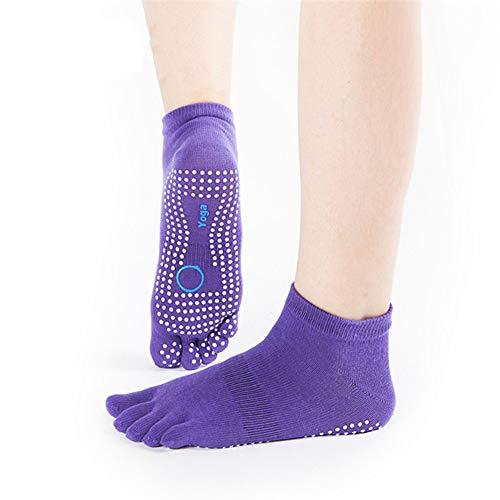 VIWIV Yoga Socken, Frauen Zehenfreie Atmungsaktive rutschfeste Baumwollballettsocken Strümpfe, Geeignet Für Pilates Fitness Fünf-Finger-Socken (3 Paar),Lila,1