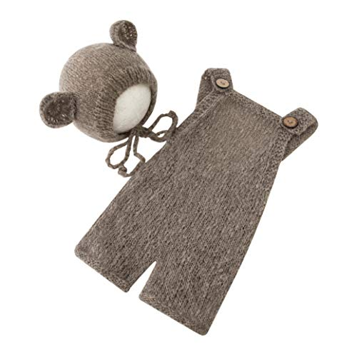 Newborn Photography Props Boys Girls Outfits Baby Photo Props Soft Mohair Bear Hat Romper Set (Brown)