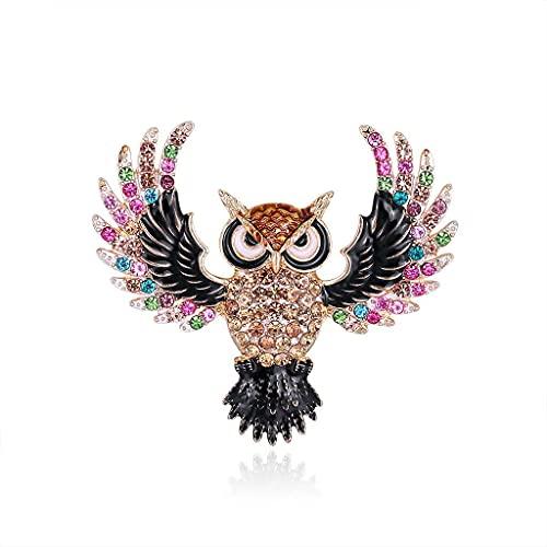 Broche de búho con cristales inspirados en la vendimia, para mujeres y niñas